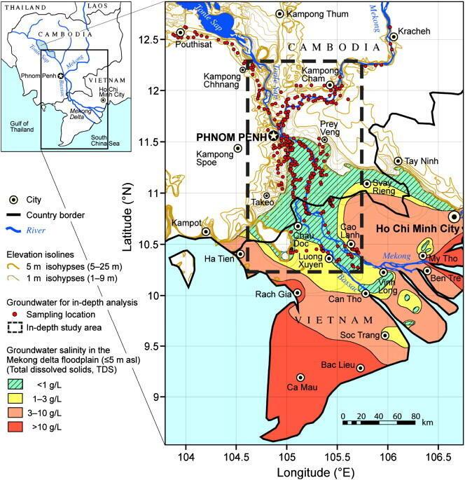Bản đồ các vùng nhiễm mặn tại đồng bằng Cửu Long - Mêkông.