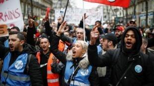 Biểu tình chống cải cách hưu trí tại Paris, ngày 28/12/2019.