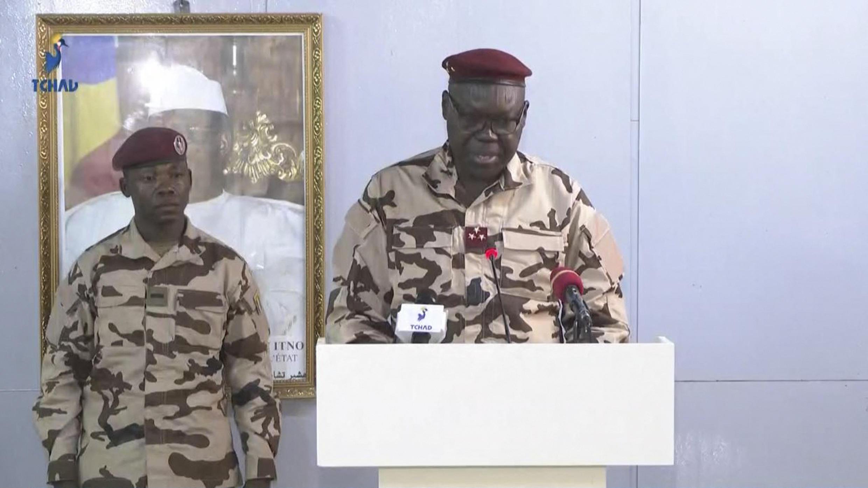 Jenerali Djimadoum Tiraina, makamu wa rais wa Baraza la Jeshi la Mpito, huko Ndjamena, Aprili 21, 2021.