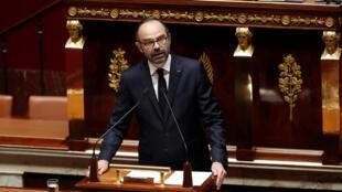 Le Premier ministre Edouard Philippe, ce lundi 16 avril, lors du débat sans vote au Parlement sur l'intervention de la France en Syrie.