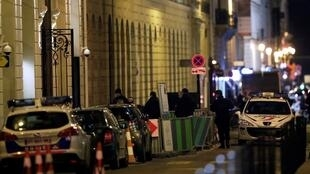 Police at the back entrance of the Ritz on the night of the robbery
