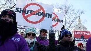 Manifestation contre le shutdown, à Washington le 10 janvier 2019.