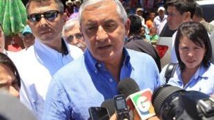 """""""Tenemos que dar la cara"""", dijo el presidente guatemalteco Otto Pérez  el 21 de agosto del 2015 en el departamento de Zacapa."""