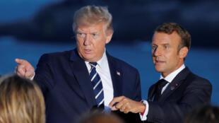 Le président américain Donald Trump et le chef d'État français Emmanuel Macron, lors du sommet du G7 à Biarritz, le 25 août.