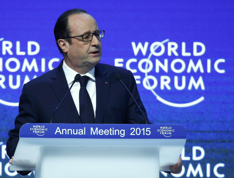 O presidente francês, François Hollande, discursou no Fórum Econômico Mundial de Davos, nesta sexta-feira (23).