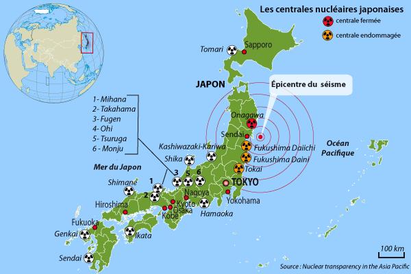 Les 18 centrales nucléaires japonaises.