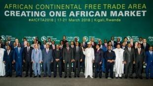 Quarante-quatre pays ont signé l'accord pour une Zone de libre-échange continentale en Afrique à Kigali, le 31 mars 2018.