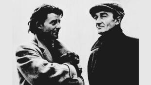 A droite, Jean Vilar, ici avec le célèbre comédien Gérard Philippe, en 1951.