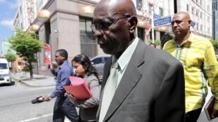 Jack Warner leaves the Magistrate's Court in Port-of-Spain on 25 September 2015.
