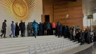 Heads of state and delegations enter the main hall for the opening of the 33rd AU Summit in Addis Ababa, Ethiopia on 9 February 2020
