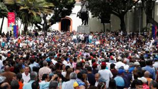 圖為委內瑞拉示威民眾2019年1月25日在加拉加斯市中心廣場等候瓜伊多發表演講