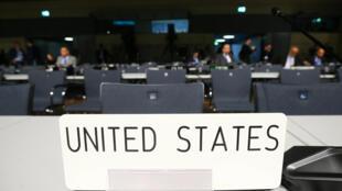 Chiếc ghế trống của đoàn đại biểu Mỹ tại hội nghị COP23 ở Bonn, Đức ngày 06/10/2017.