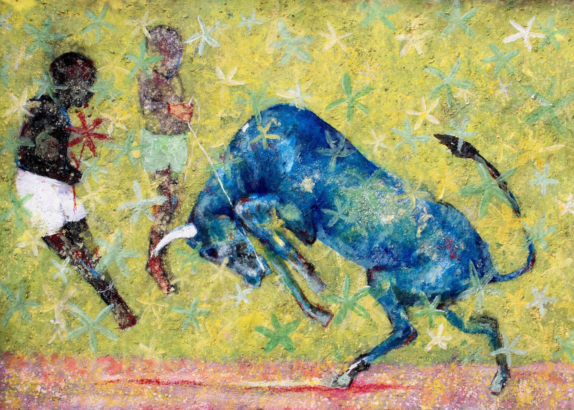 Alhassane Konté, « Le taureau bleu », 2020, exposé à Abidjan, à LouiSimone Guirandou Gallery.  © Archives personnelles Alahassane Konté