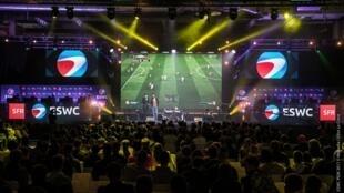 Lors de la compétition e-sport Fifa organisée à la Paris Games Week, le 01 novembre 2017.