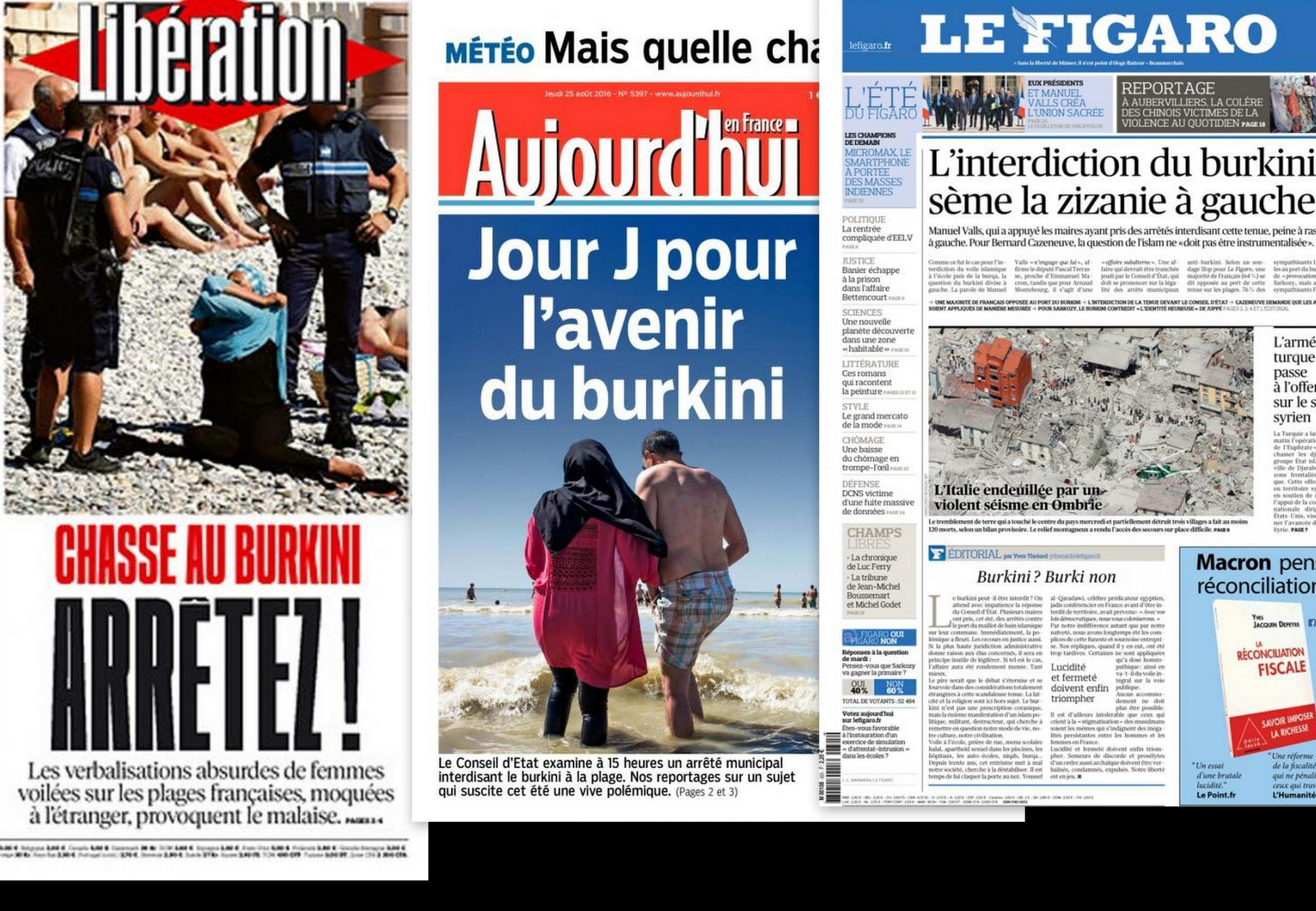French newspapers' coverage of the burkini row