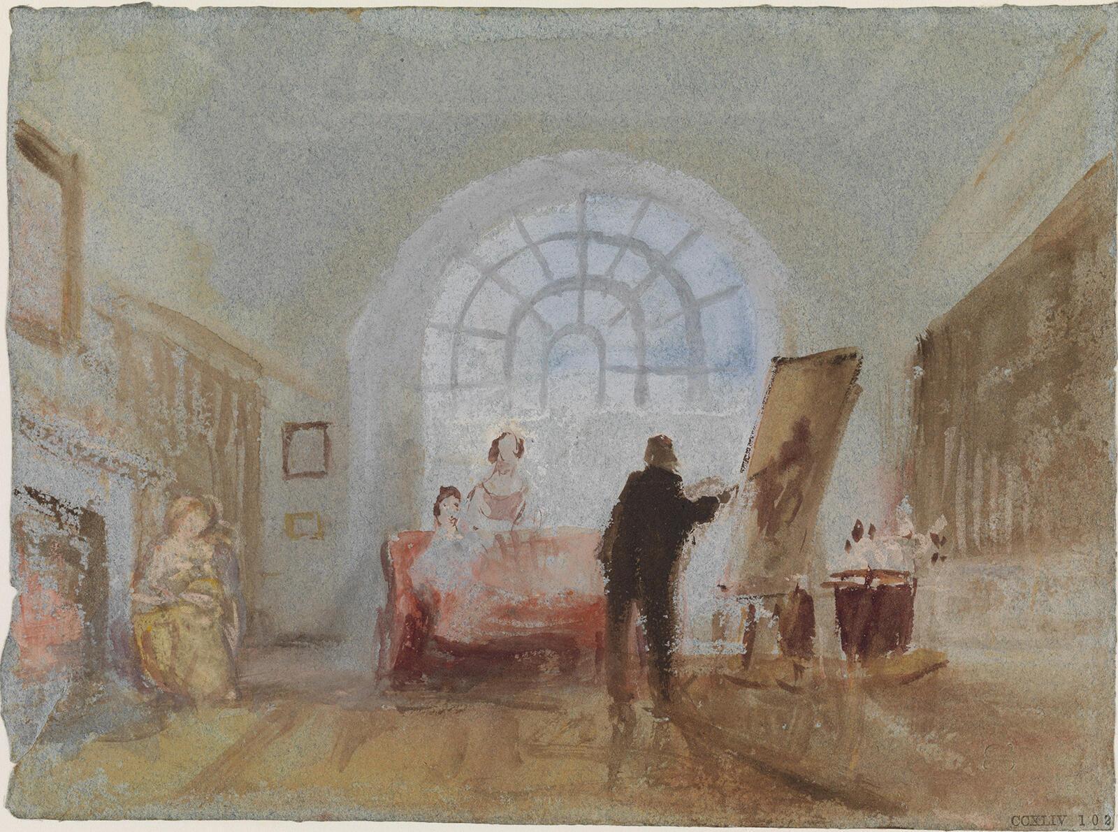 Художник и его почитательницы. Уильям Тернер. Акварель, пигменты, бумага. 1827.