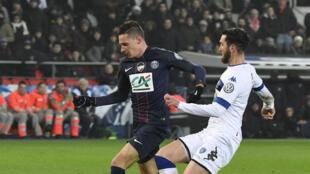 L'Allemand Julian Draxler lors de son premier match sous le maillot du PSG le 7 janvier 2017 contre Bastia en Coupe de France.