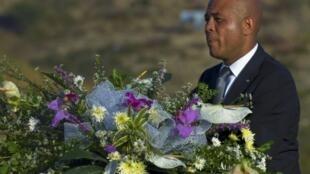 Le président haïtien Michel Martelly, lors de la cérémonie commémorant les deux ans du séisme qui a fait plus de 200 000 victimes, le 12 janvier 2010.