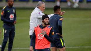 Neymar durante o treino da seleção brasileira na Granja Comary, nesta terça-feira 4 de junho de 2019.