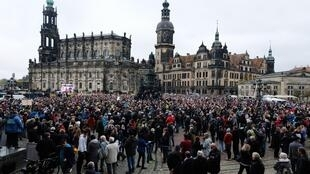 Une manifestation contre la politique de lutte contre le Covid-19 du gouvernement allemand à Dresde le 31 octobre 2020.