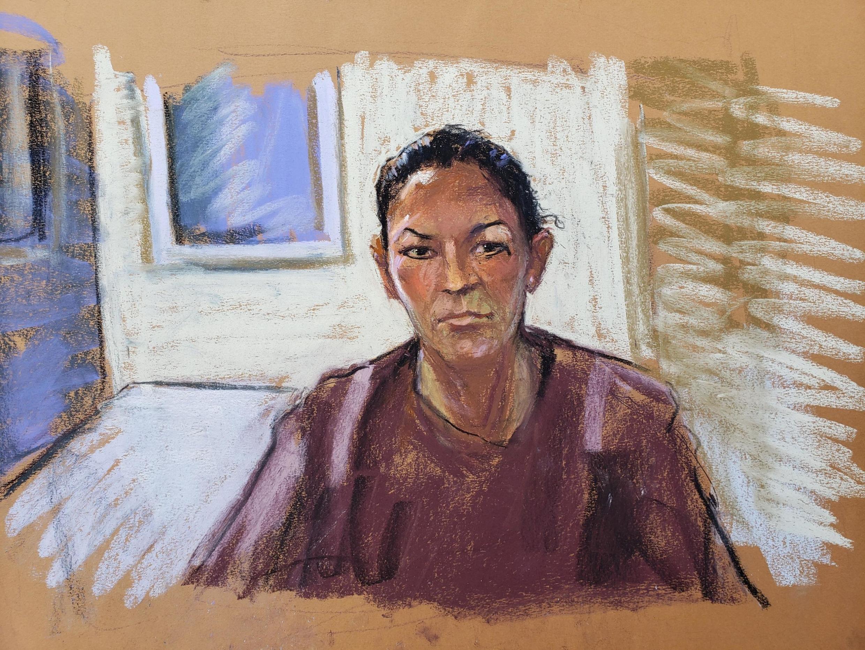 Ghislaine Maxwell lors de son audience de mise en accusation par vidéo à la Cour fédérale de Manhattan à New York, le 14 juillet 2020. Croquis d'audience.