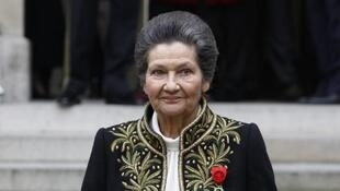 Simone Veil on 18 March 2010 after her entry ceremony as member of the Academie Francaise in Paris