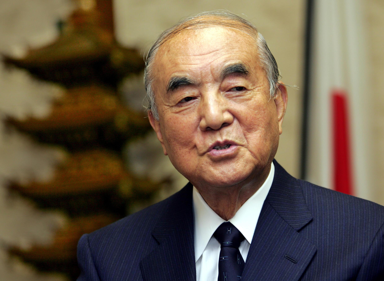 日本前首相中曾根康弘在日本東京接受採訪 2005年11月22日