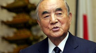 日本前首相中曾根康弘在日本东京接受采访 2005年11月22日