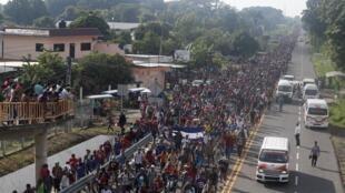 Tawagar 'yan gudun hijirar da ke tunkarar Amurka bayan tasowa daga kasar Honduras.