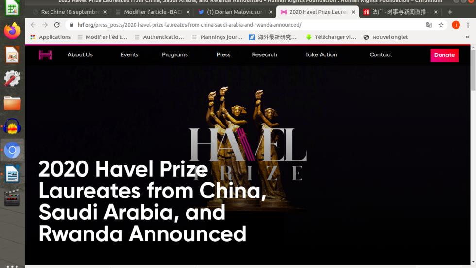 美国人权基金会公布2020年度哈维尔异议人士创意奖获奖者名单,中国流亡澳大利亚异议漫画家巴丢草为三名获奖者之一。