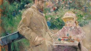 歐也尼 馬奈和他的女兒朱莉在花園裡