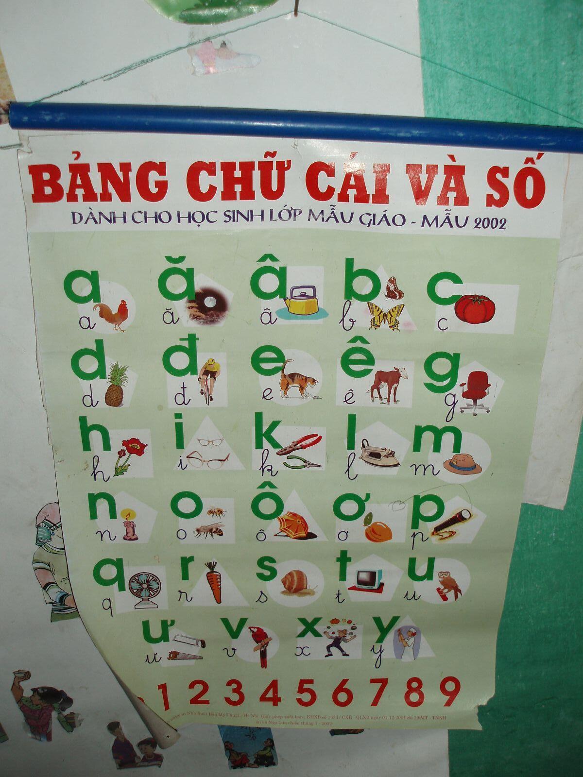 Bảng chữ cái trong một lớp mẫu giáo ở Sapa