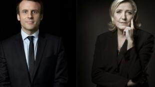 """دو نامزدِ انتخابات ریاست جمهوری فرانسه، """"امانوئل ماکرون"""" و """"مارین لوپن"""""""