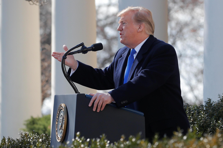 Tổng thống Mỹ Donald Trump thông báo ban bố tình trạng khẩn cấp, nhân cuộc họp báo tại Nhà Trắng, ngày 15/02/2019.