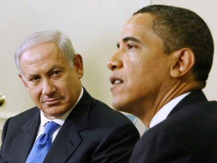 La première entrevue de Benyamin Netanyahu et Barack Obama dans le bureau ovale de la Maison Blanche le 18 mai 2009.