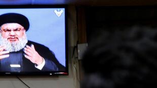 A Beyrouth, retransmission tv du discours du chef du Hezbollah, lundi 20 novembre 2017.