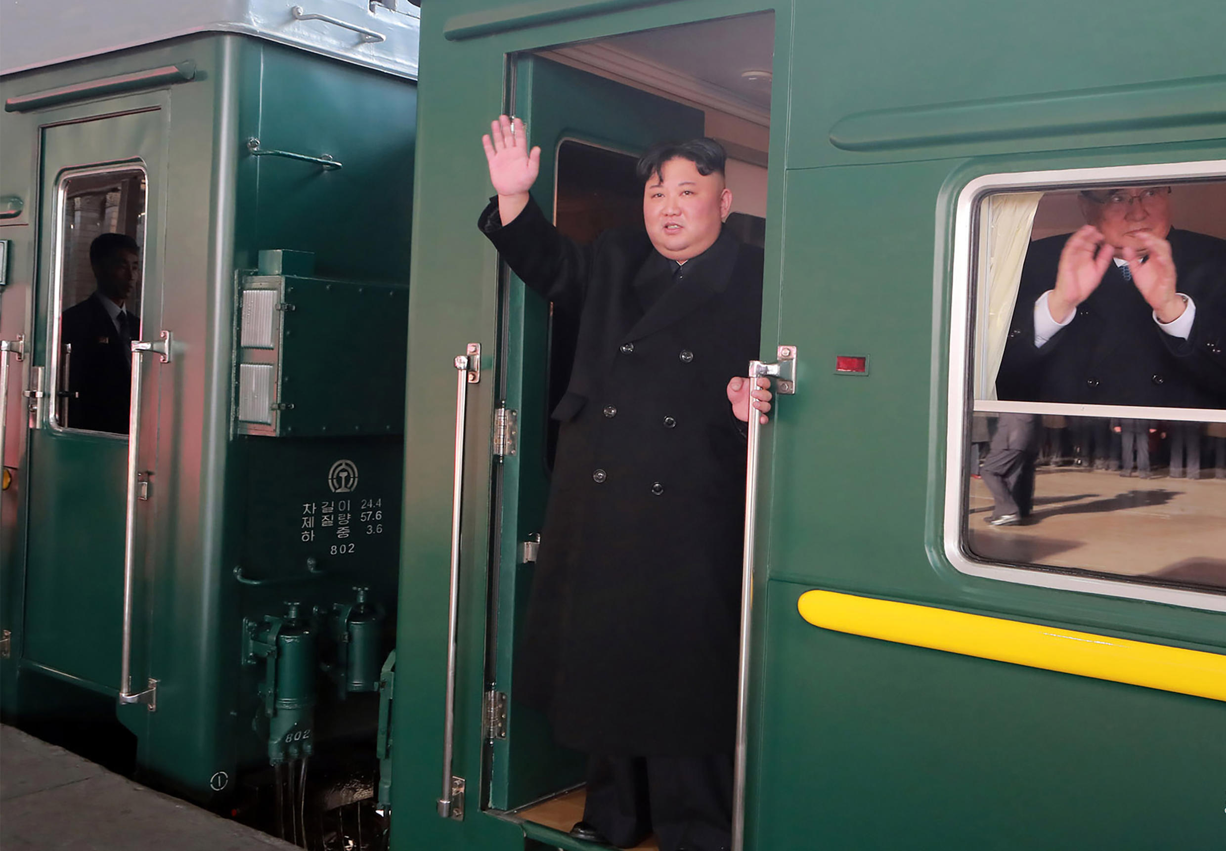 Kim departing Pyongyang Station for the second North Korea-US summit meeting in Hanoi, Vietnam, 23 February 2019.