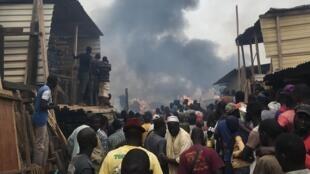 Un violent incendie a touché le quartier Pikine de Dakar, Au Sénégal, le 17 novembre 2017.