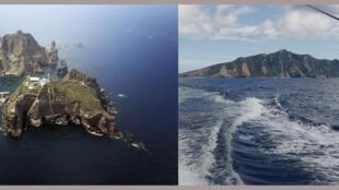 Hai vùng đảo làm Nhật Bản đau đầu : Dokdo/Takeshima (T) và Senkaku/Điếu Ngư.