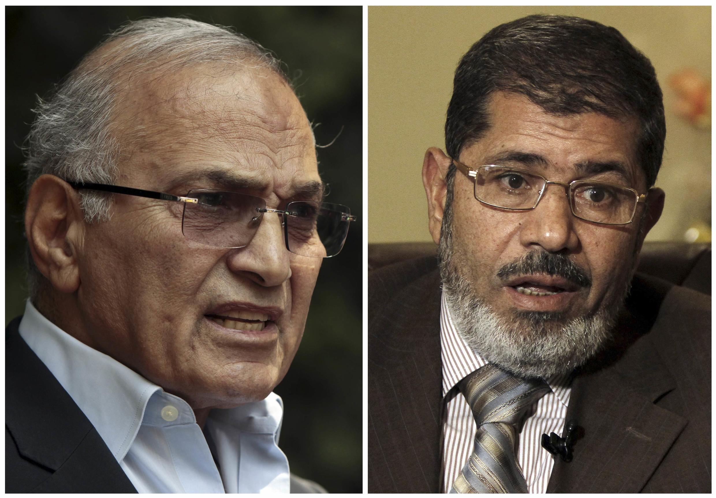 O ex-premiê Ahmad Chafiq (à esq.) continua na corrida presidencial contra Mohammed Morsi, da Irmandade Muçulmana.