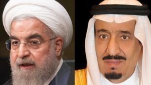 O presidente Rohani  do Irão  e o rei Salman da Arábia Saudita