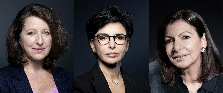 Candidatas à Câmara Municipal de Paris: Agnès Buzyn, Rachida Dati e Anne Hidalgo (da esquerda para a direita)