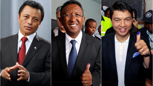 3 principais candidatos às presidenciais no Madagáscar, Ravalomanana, Rajaonarimampianina e Rajoelina de um total de 36.