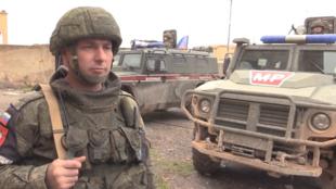 Capture d'écran d'une vidéo du ministère russe de la Défense sur la présence de la police militaire russe à Manbij et ses environs, le 8 janvier 2019.