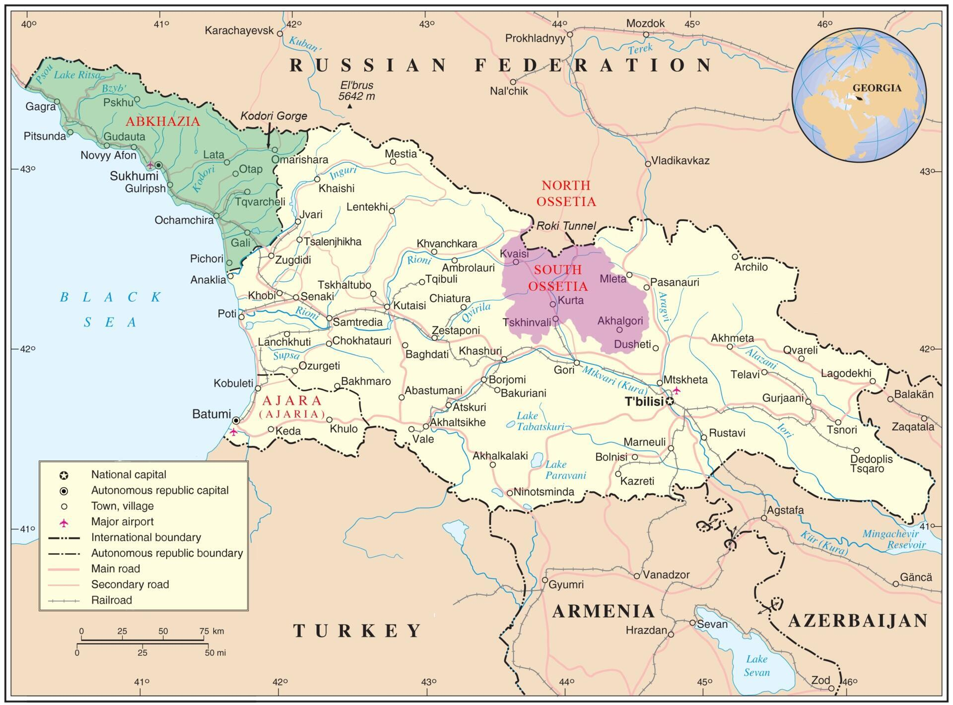 Map of Georgia with Abkhazia (in green) and South Ossetia (in purple)
