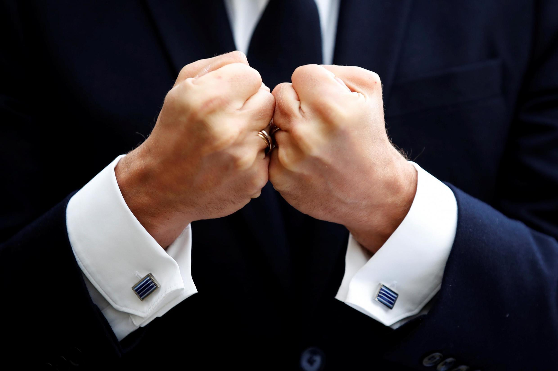 The hands of the helmsman: Emmanuel Macron has now been two years in the top job.