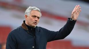 L'entraîneur portugais José Mourinho, alors en charge de Tottenham, lors du derby londonien contre Arsenal, le 14 mars 2021 à l'Emirates Stadium