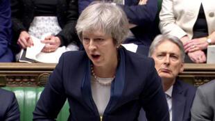 Theresa May lors de son discours devant le Parlement avant le rejet de son projet d'accord de divorce avec l'UE, le 15 janvier 2019.