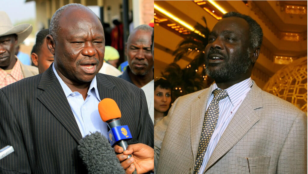 Abdulaziz al-Hilu (L), leader of the Sudan's People's Liberation Movement-North, and Gibril Ibrahim (R), head of the Justice and Equality (JEM) group.
