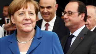 Thủ tướng Đức Angela Merkel và tổng thống Pháp François Hollande tại Thụy Sĩ ngày 01/06/2016.